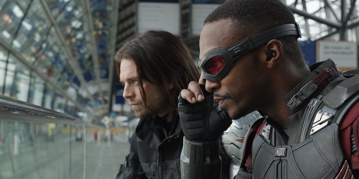 Bucky and Falcon in Captain America: Civil War