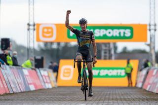 Belgiums Toon Aerts celebrates as he crosses the finish line to win the mens race at the first stage of the Superprestige cyclocross cycling competition in Gieten on October 11 2020 Photo by KRISTOF VAN ACCOM BELGA AFP Belgium OUT Photo by KRISTOF VAN ACCOMBELGAAFP via Getty Images
