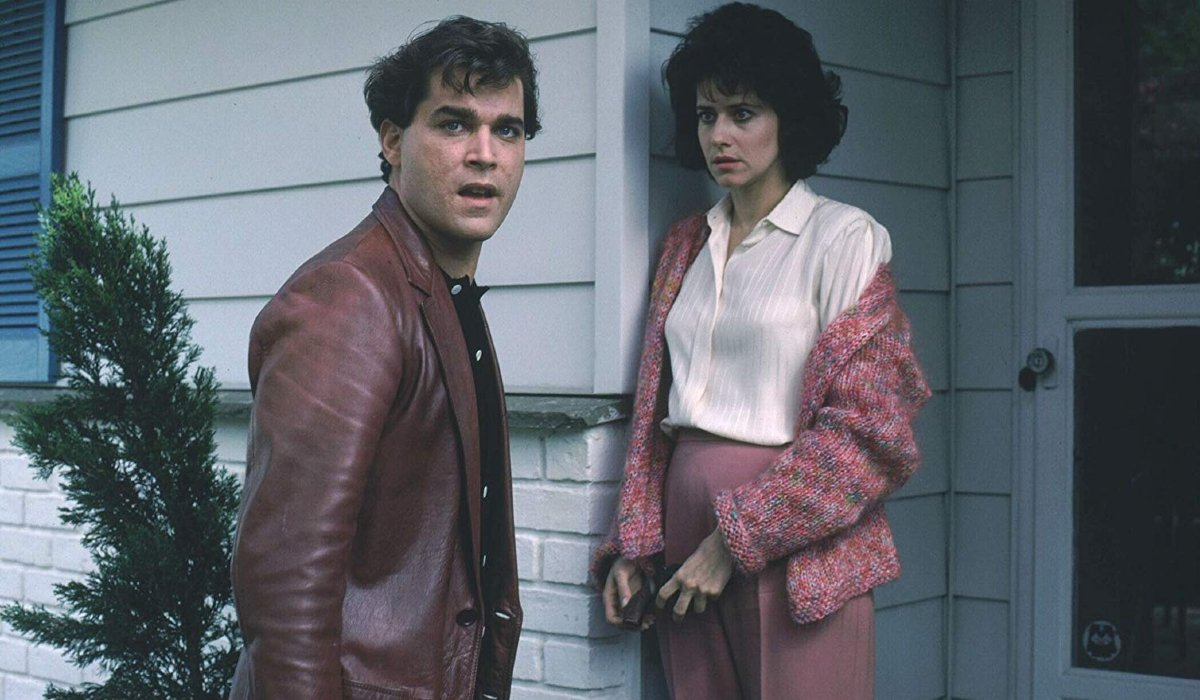 Goodfellas Henry and Karen outside of their house, with concerned and angry looks