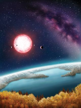 This artist illustration shows what it might be like to stand on the surface of the planet Kepler-186f, the first-ever Earth-size planet to be found in the habitable zone of its star.