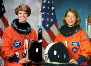 Female shuttle commanders Eileen Collins and Pamela Melroy