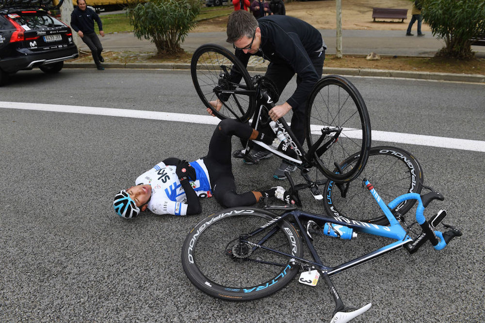 Team Sky left  gutted  after Egan Bernal crashes out and off Volta a  Catalunya podium - Cycling Weekly 137bf039f