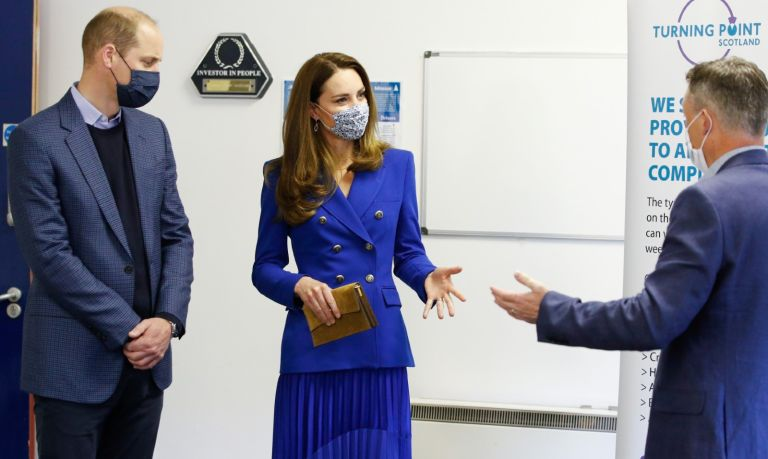 Prince William, Duke of Cambridge and Catherine, Duchess of Cambridge talk to Neil Richardson, CEO of Turning Point Scotland, during a visit at its centre on May 24, 2021 in Coatbridge, United Kingdom.
