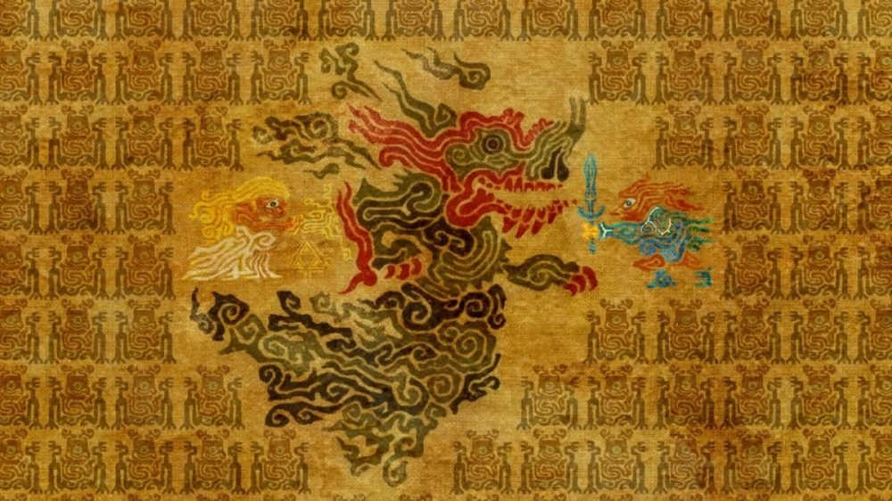 A tapestry shows a dragon being slain by a warrior, while a princess stands near