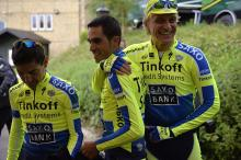 Alberto Contador (Tinkoff Saxo) before a training session in Leeds