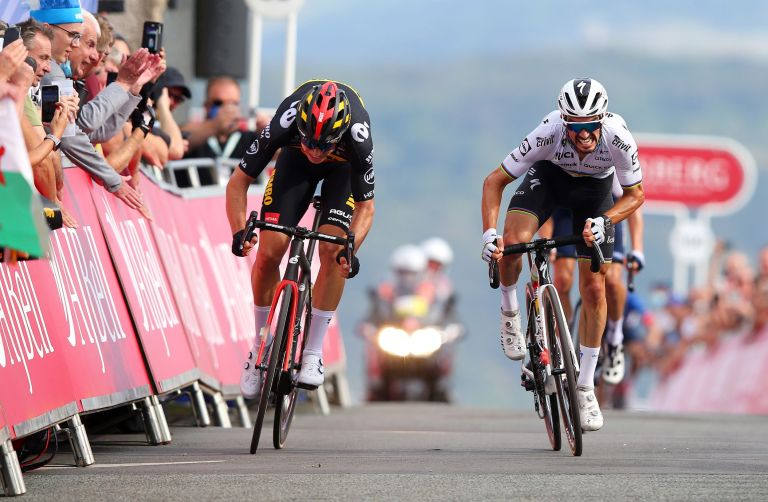 Wout van Aert and Julian Alaphilippe battle on the Great Orme at the Tour of Britain 2021