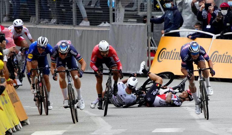 Caleb Ewan and Peter Sagan crash at the 2021 Tour de France