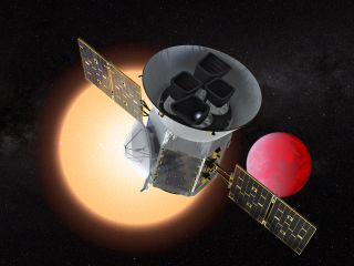 Artist's illustration of NASA's Transiting Exoplanet Survey Satellite (TESS).