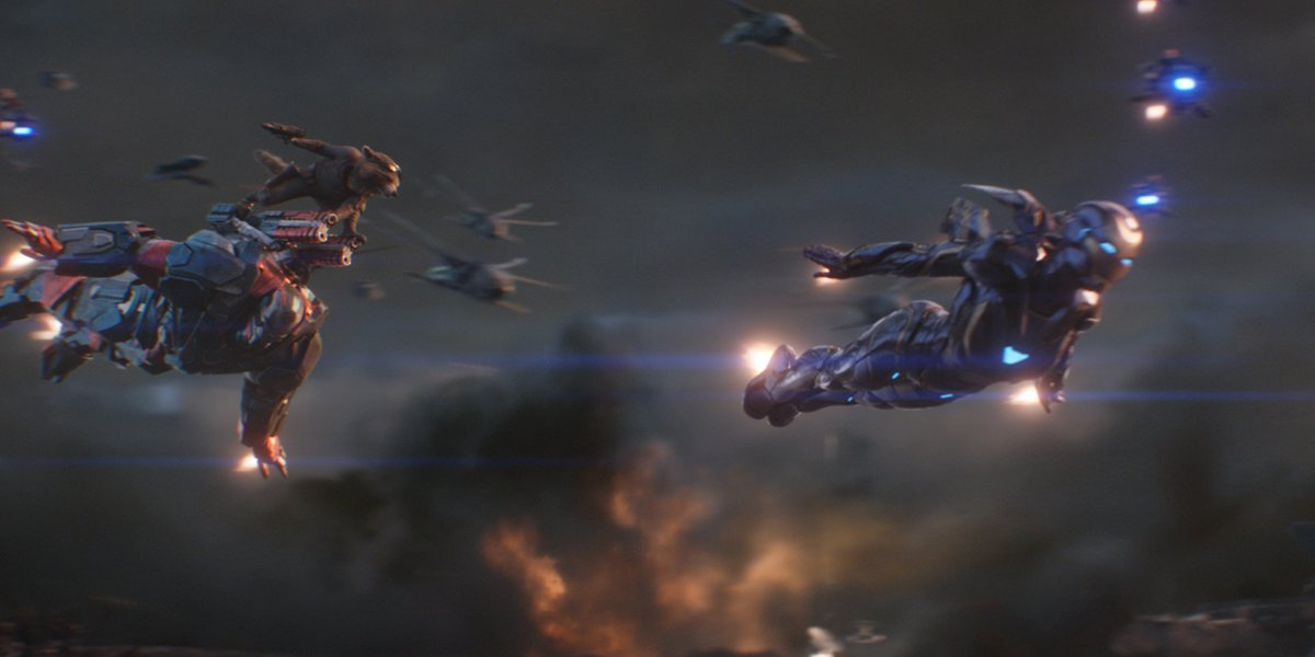 Avengers: Endgame War Machine Rocket and Rescue fly