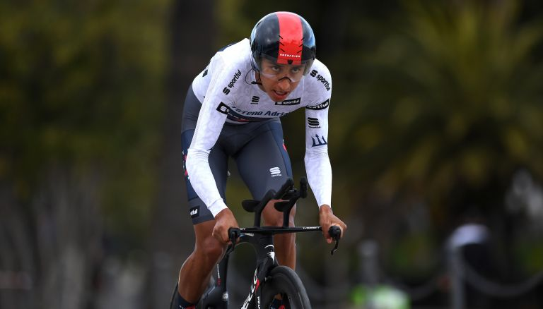 Egan Bernal during the Tirreno-Adriatico 2021 time trial