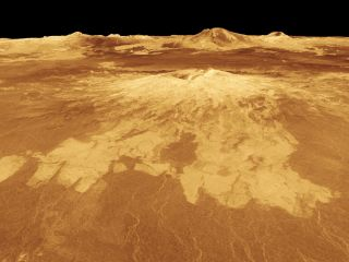 This computer-generated view of the surface of Venus shows lava flows from the volcano Sapas Mons that extend hundreds of miles across fractured plains.
