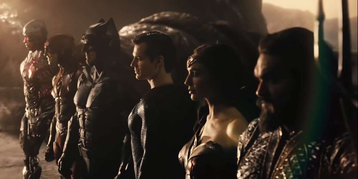 The League assembled in the Snyder Cut trailer