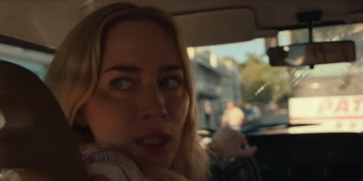 Emily Blunt reversing in car during Quiet Place Part II