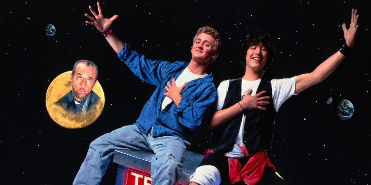 Bill & Ted's Excellent Adventure Bill and Ted rockin' on top of the phone booth