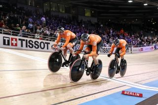 BERLIN GERMANY FEBRUARY 26 Jeffrey Hoogland Harrie Lavreysen and Roy van den Berg of The Netherlands compete during Mens Team Sprint Final during day 1 of the UCI Track Cycling World Championships Berlin at Velodrom on February 26 2020 in Berlin Germany Photo by Maja HitijGetty Images