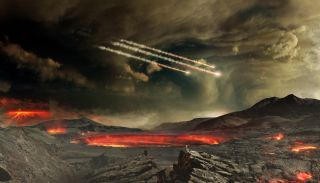In this artist's illustration, fiery meteors fall to the crater- and lava-pocked Earth billions of years ago.