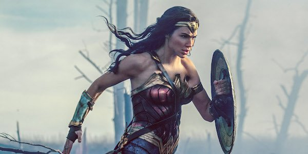 Gal Gadot charging into battle in Wonder Woman