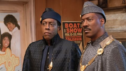 Arsenio Hall and Eddie Murphy reprise their roles as Semmi and Prince Akeem in Craig Brewer's 'Coming 2 America'.