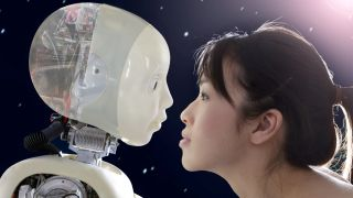 A side profile photo of a person and a robot face to face.