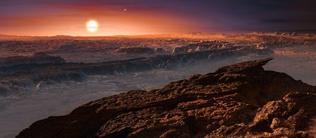 This artist's impression shows what the surface of the alien planet Proxima b might look like.