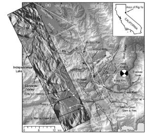 Regional map showing location of the Polaris fault and selected regional faults from the U.S. Geological Survey (USGS). The inset topographic map shows high-resolution airborne LiDAR imagery, with the Polaris fault shown as a bold white line.
