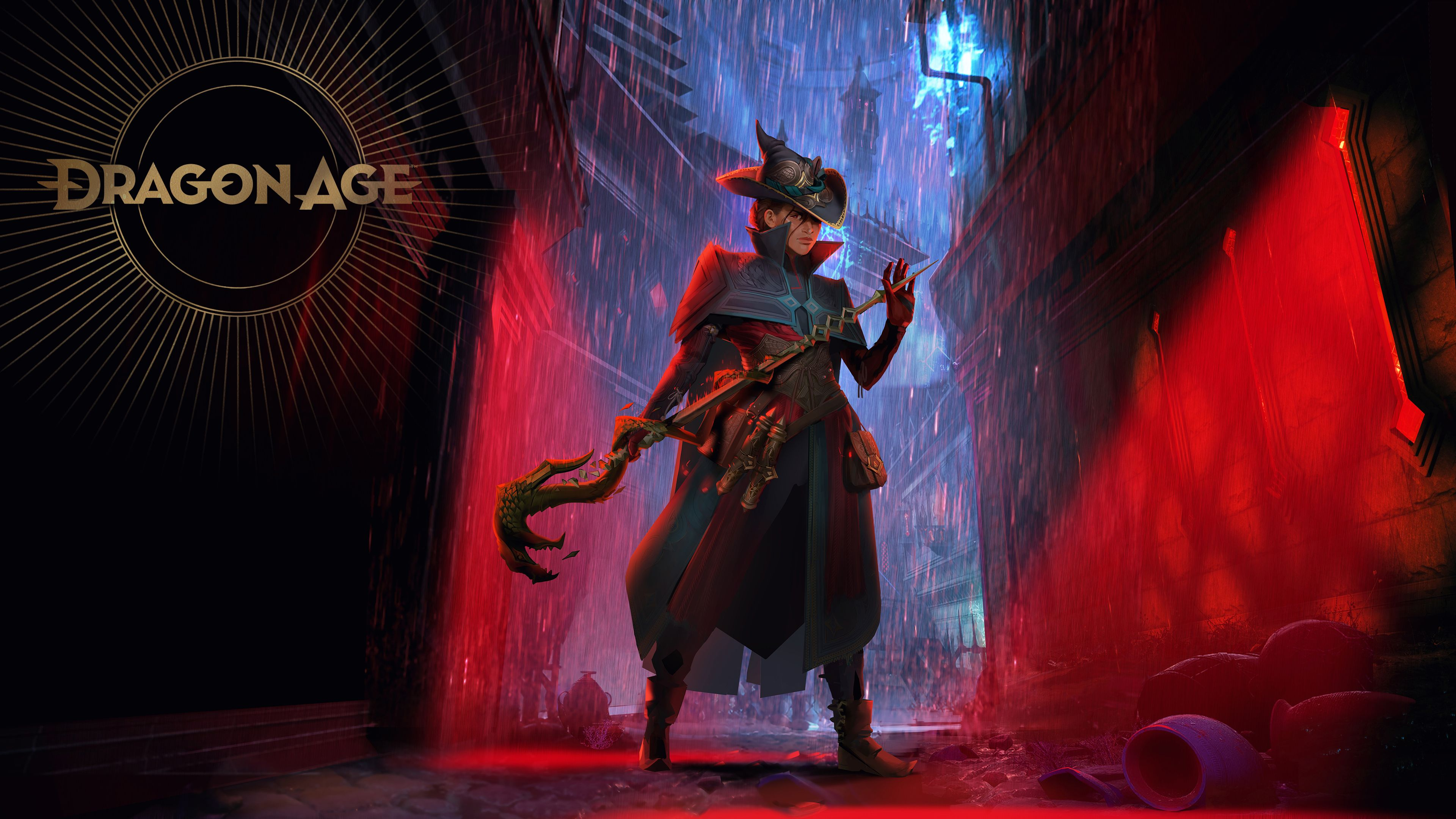 Concept art of a Dragon Age 4 mage lurking in an alley