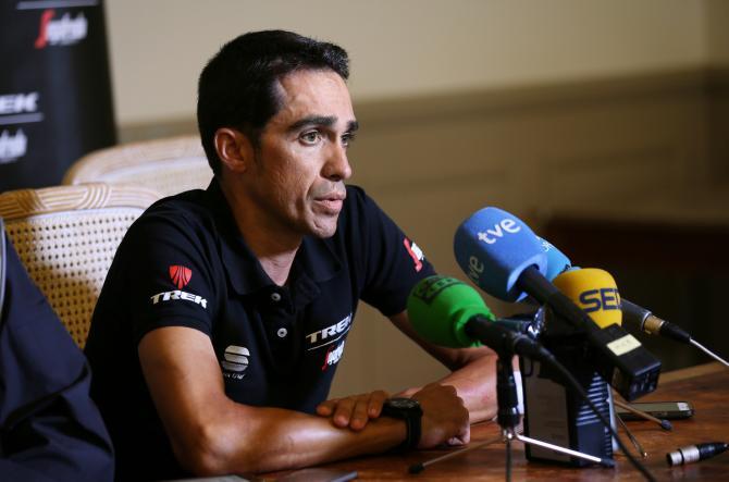 Alberto Contador during the Tour de France rest day 1 press conference