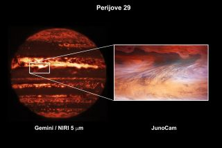 On the left, an image taken by the Gemini North Telescope shows a hotspot in the context of Jupiter's atmosphere; the magnification on the right shows a view from the Juno spacecraft orbiting the planet. Both images were taken on Sept. 16, 2020.