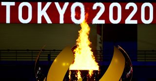 The Olympic Flame burns after the lighting of the Olympic Cauldron during the opening ceremony of the Tokyo 2020 Olympic Games, at the Olympic Stadium, in Tokyo, on July 23, 2021.