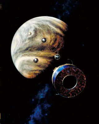 A NASA illustration shows the Pioneer 13 probes descending toward the clouds of Venus.