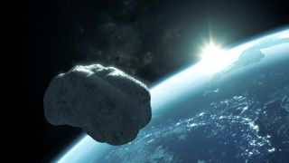 This 3D rendering shows what asteroid Apophis might look like as it passes near the Earth.