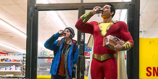 Jack Dylan Grazer as Freddy Freeman and Zachary Levi as Shazam!