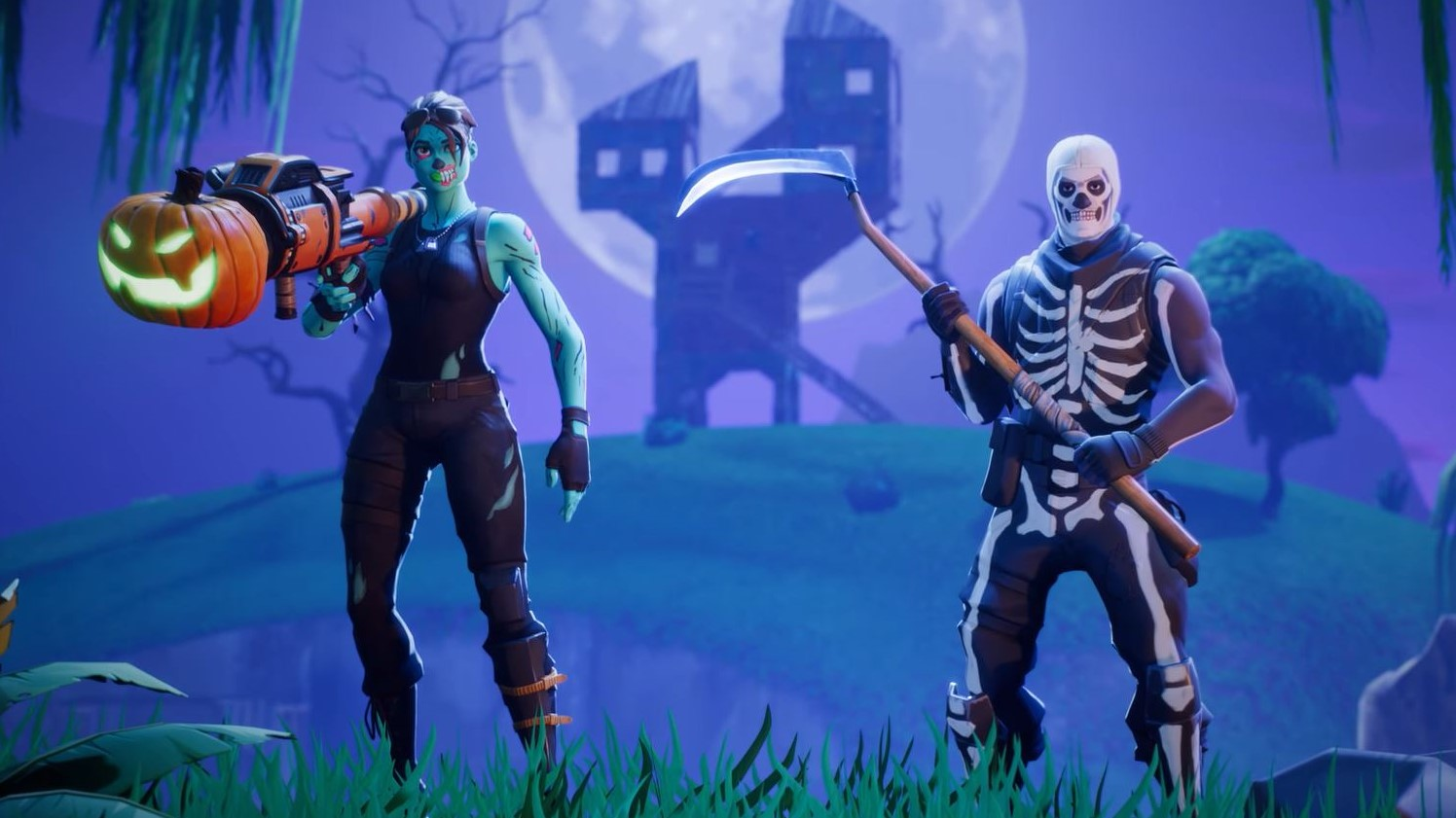 Two Fortnite skins of some Halloween outfits