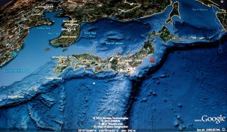 A Google satellite map shows where the 2011 Tohoku earthquake struck off Japan.