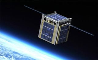 An artist's illustration of a tiny cubesat satellite in orbit.