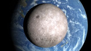 An artist's depiction of the far side of the moon and Earth.