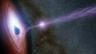 In this artist's concept, a supermassive black hole is surrounded by a swirling disk of material. The purplish ball of light above the black hole, a feature called the corona, contains highly energetic particles that generate X-ray light.