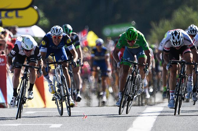 Mark Cavendish (Dimension Data), Marcel Kittel (Etixx-QuickStep) and Peter Sagan (Tinkoff) sprint for the line, stage 14 Tour de France