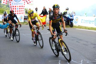 LUZ ARDIDEN FRANCE JULY 15 Jonas Vingegaard of Denmark and Team JumboVisma White Best Young Rider Jersey Richard Carapaz of Ecuador and Team INEOS Grenadiers Tadej Pogaar of Slovenia and UAETeam Emirates Yellow Leader Jersey Sepp Kuss of The United States and Team JumboVisma in the Breakaway during the 108th Tour de France 2021 Stage 18 a 1297km stage from Pau to Luz Ardiden 1715m LeTour TDF2021 on July 15 2021 in Luz Ardiden France Photo by Tim de WaeleGetty Images