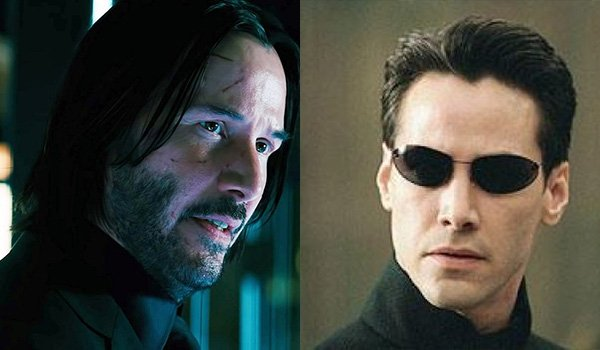 Keanu Reeves as John Wick and Neo in The Matrix