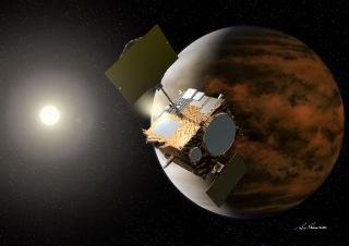 Artist's concept of Japan's Akatsuki spacecraft at Venus.