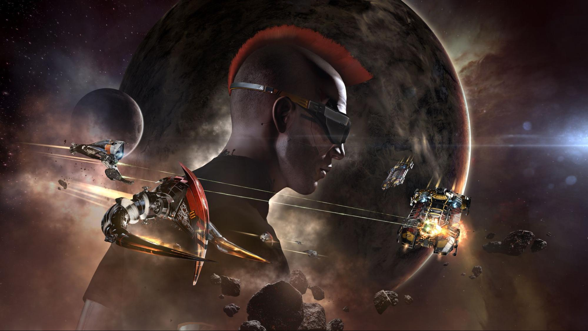 A masculine character with a mohawk and goggles is superimposed over a planet and its moon in the background. In the foreground, ships are battling with one another, from right to left.