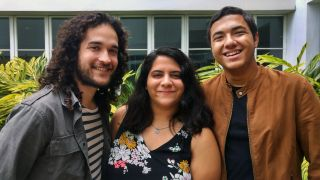 University of Puerto Rico undergraduate students Jorge Pérez Figueroa (left), Alejandra Ocasio (center) and Kevin Ortíz Ceballos (right) are investigating the history of an old observatory on campus.