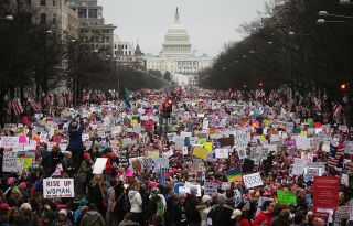 Protesters walk up Pennsylvania Avenue during the Women's March on Washington on Jan. 21, 2017, in Washington, D.C. The March for Science will take place in the nation's capital on April 22, 2017, to support scientists and emphasize the need to include sc