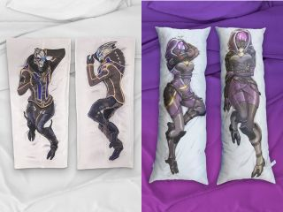 Tali and Garrus in pillow form