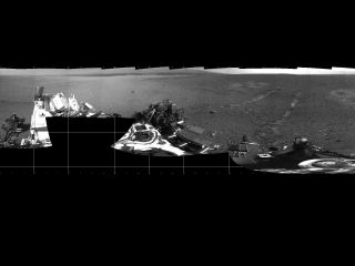 NASA's Mars rover Curiosity took this panorama on Mars on Aug. 22, 2012, just after its first test drive.
