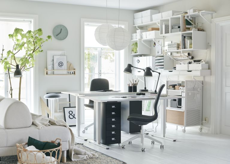 home office with white scheme, spacious design by ikea