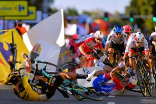 Riders tried to avoid the crash on stage 1 of the Tour de Pologne