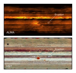 A radio telescope image (top) and visible light Hubble Space Telescope image (bottom) show a storm erupting on the gas giant.