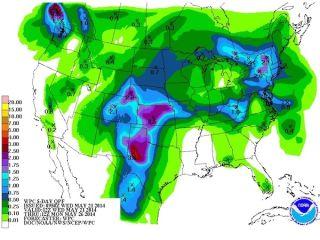 Precipitation forecast map may 2014